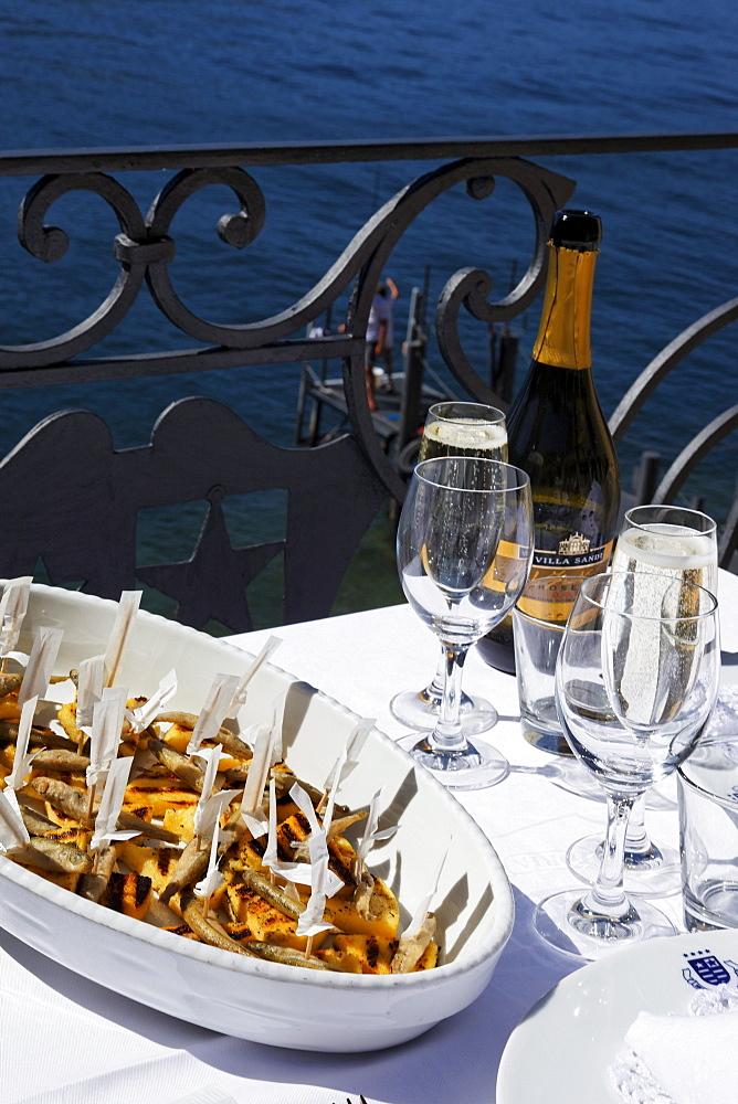 Dish on the table, Hotel Royal Victoria, Varenna, Lake Como, Lombardy, Italy