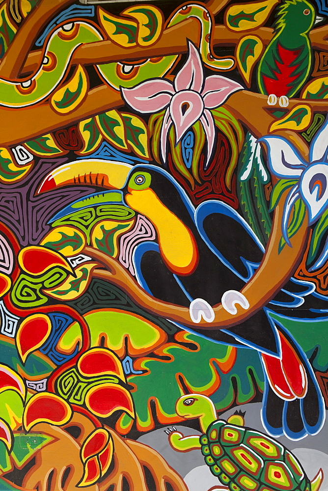 Colorful mural depicting Costa Rican wildlife outside souvenir shop, Cebadilla, Puntarenas, Costa Rica, Central America, America