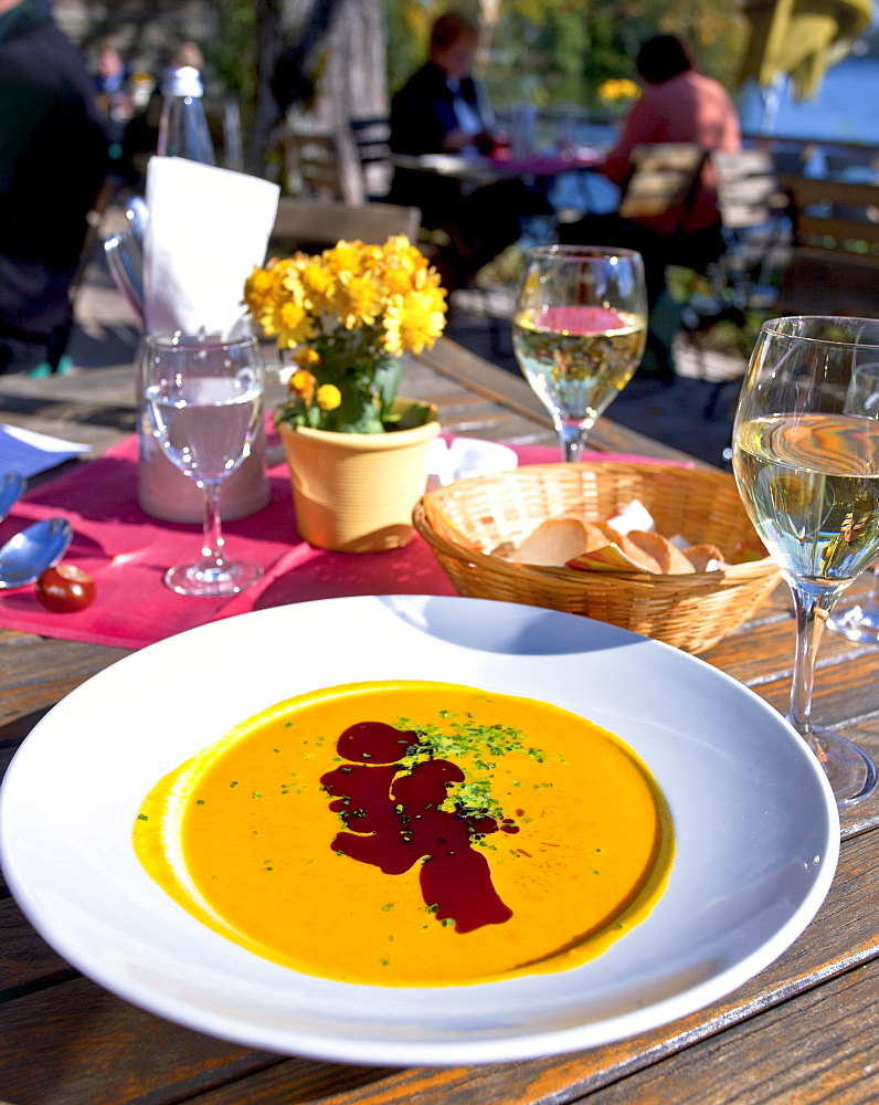 Pumpkin soup, Abbey property, Seeon Abbey, Seeon, Seeon-Seebruck, Chiemsee, Chiemgau, Upper Bavaria, Bavaria, Germany