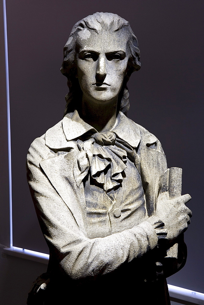 Schiller bust at Schiller's birthplace, the birth place of the classical poet and dramatist, Friedrich Schiller, Marbach am Neckar, Baden-Wuerttemberg, Germany, Europe