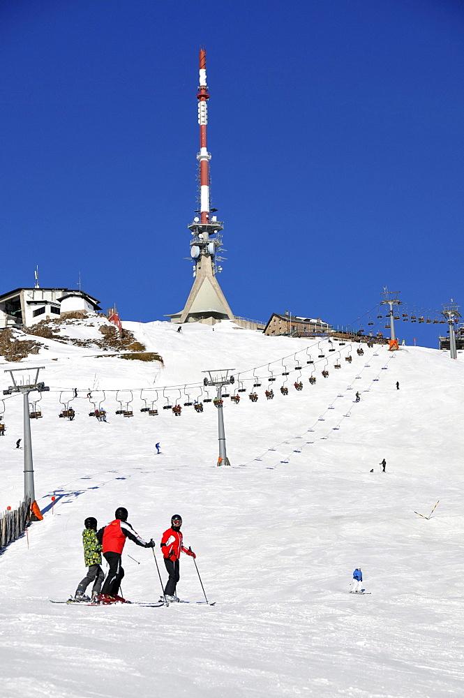 Summit at the ski resort Kitzbuehler Horn, Kitzbuehel, Winter in Tyrol, Austria