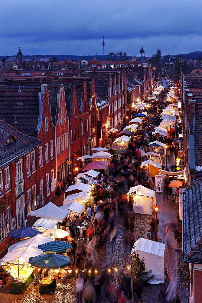 Christmas Fair in the evening, Midway, Dutch Quarter, Potsdam, Brandenburg, Germany