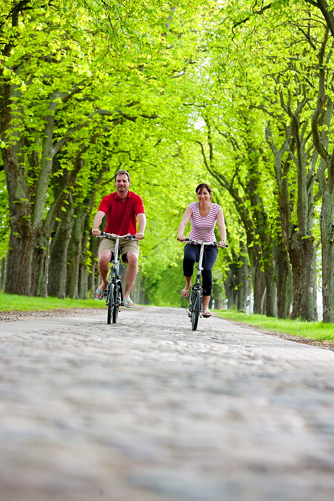 Young couple on a cycle tour, riding along a tree-lined path near Ahrensberg, Mecklenburgian Lake District, Mecklenburg-Pomerania, Germany