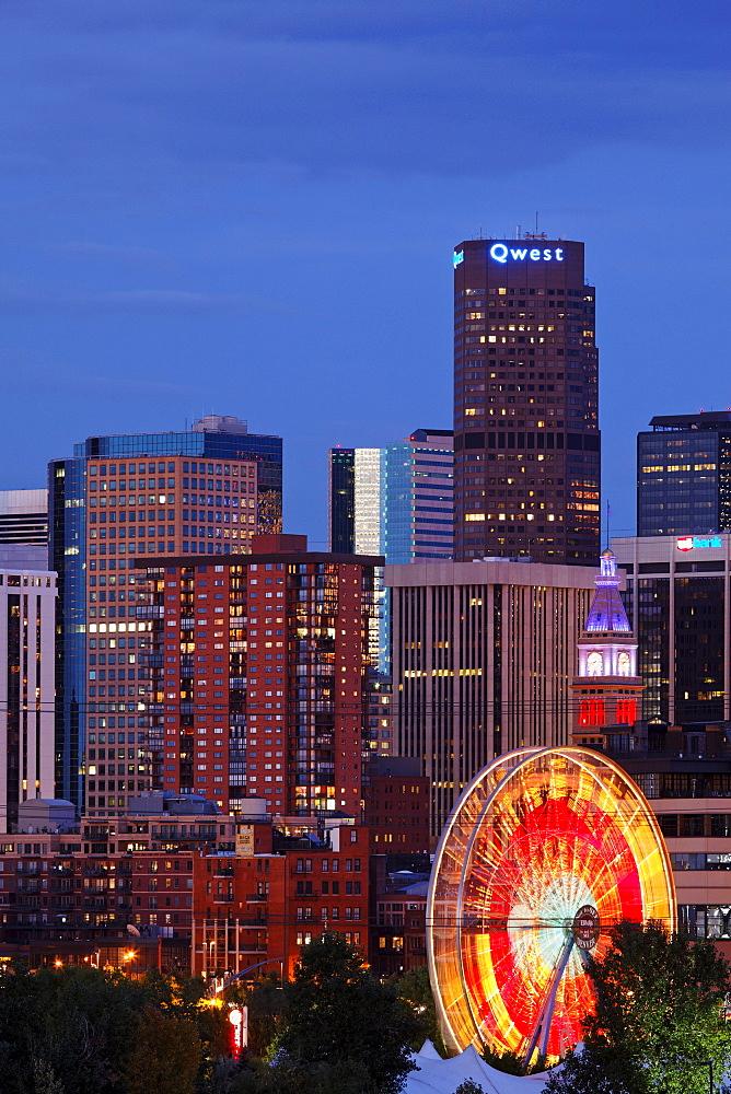 Skyline and Elitch garden amusement park, Denver, Colorado, USA, North America, America