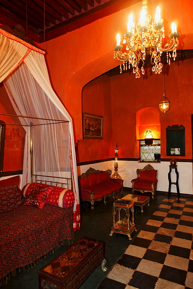 Deserted lobby of the 236 Hurumzi hotel, Stonetown, Zanzibar City, Zanzibar, Tanzania, Africa