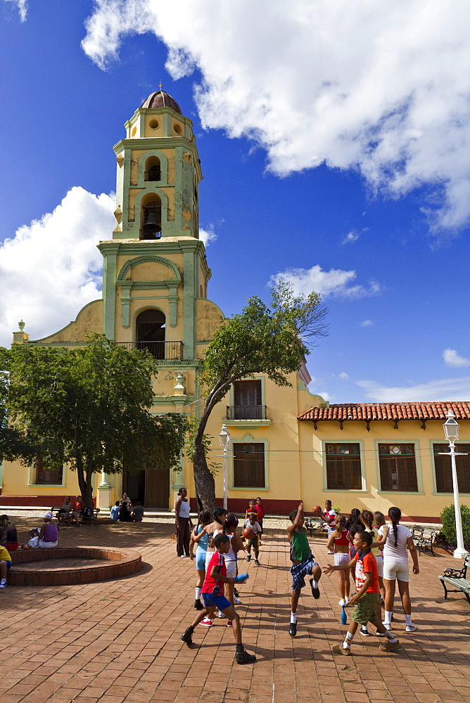 School class sports, Bell tower of Iglesia y Convento de San Francisco, Trinidad, Cuba, Greater Antilles, Antilles, Carribean, West Indies, Central America, North America, America