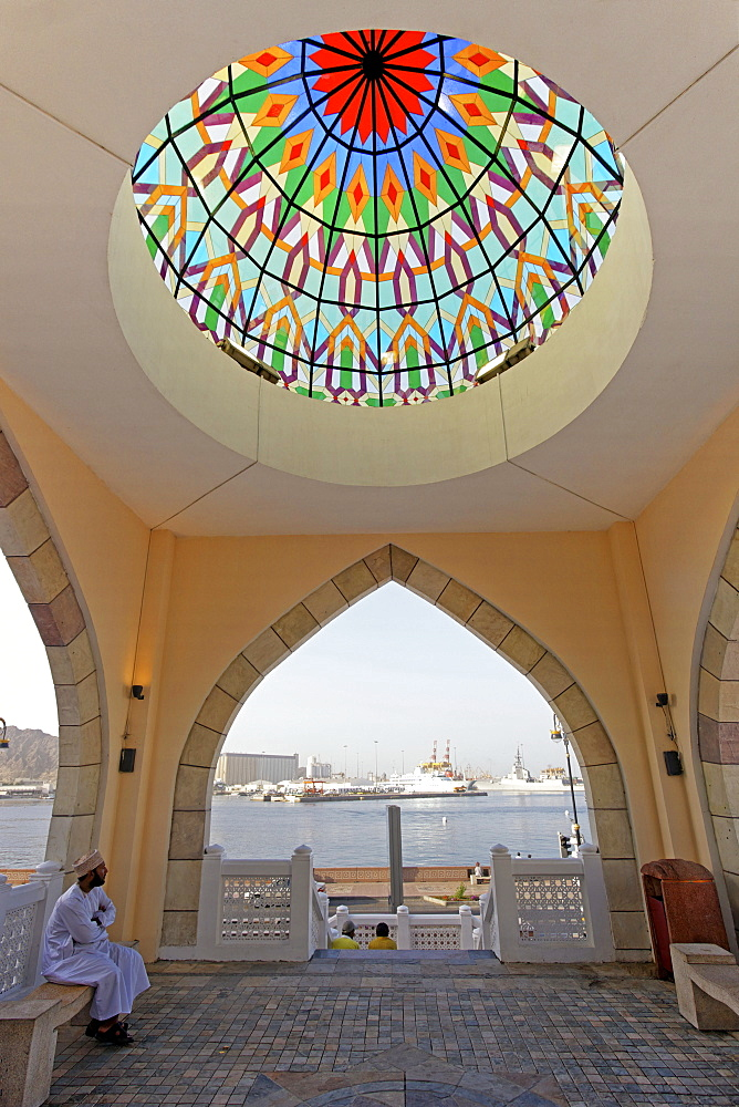 Oman Muscat Mutrah Roof with glas ornaments backgound Musquat habour
