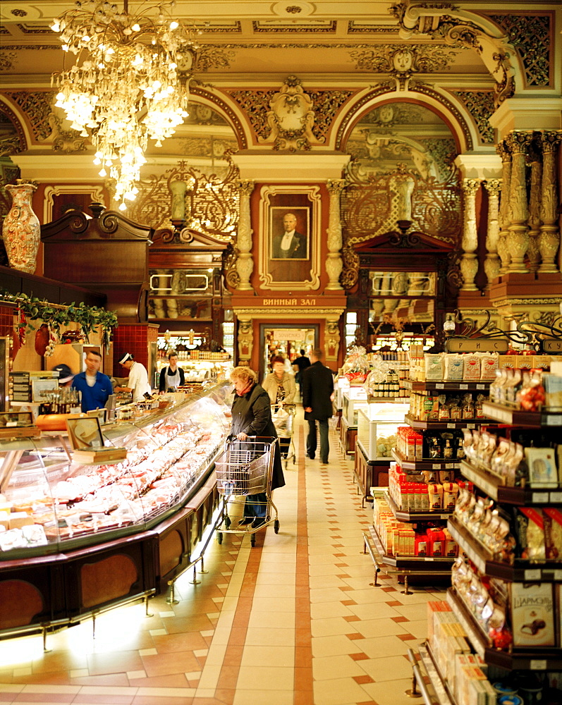 People at Jelissejew Gastronom grocery, Tverskaya 14, Moscow, Russia, Europe