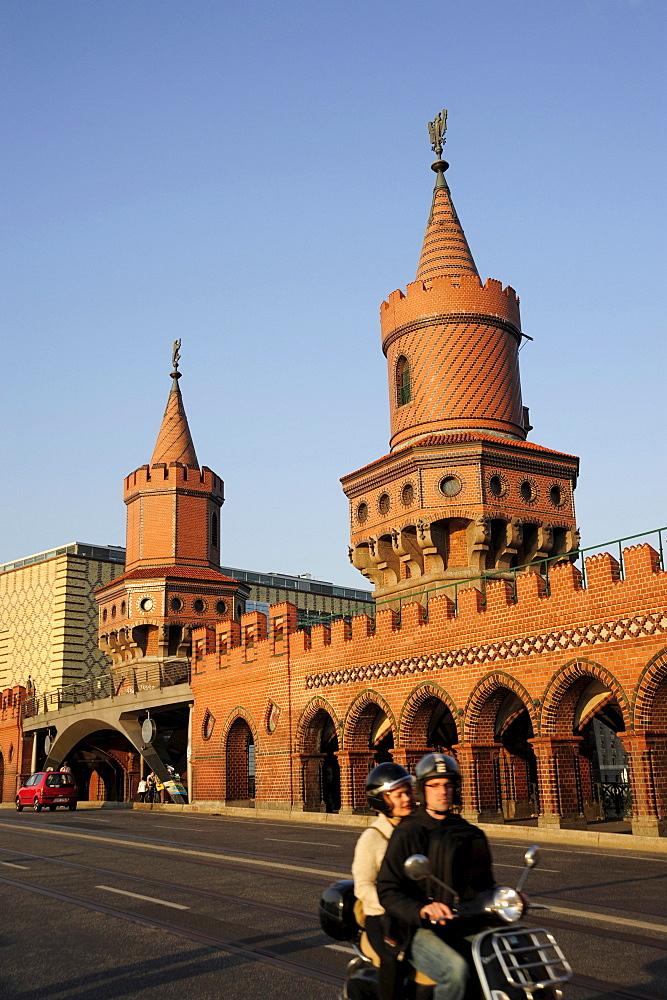 Oberbaumbruecke, a neo-Gothic bridge between Kreuzberg and Friedrichshain, Berlin, Germany
