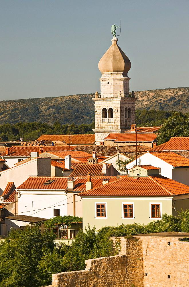 Roofs and steeple of the town of Krk, Kvarner Gulf, Krk Island, Istria, Croatia, Europe