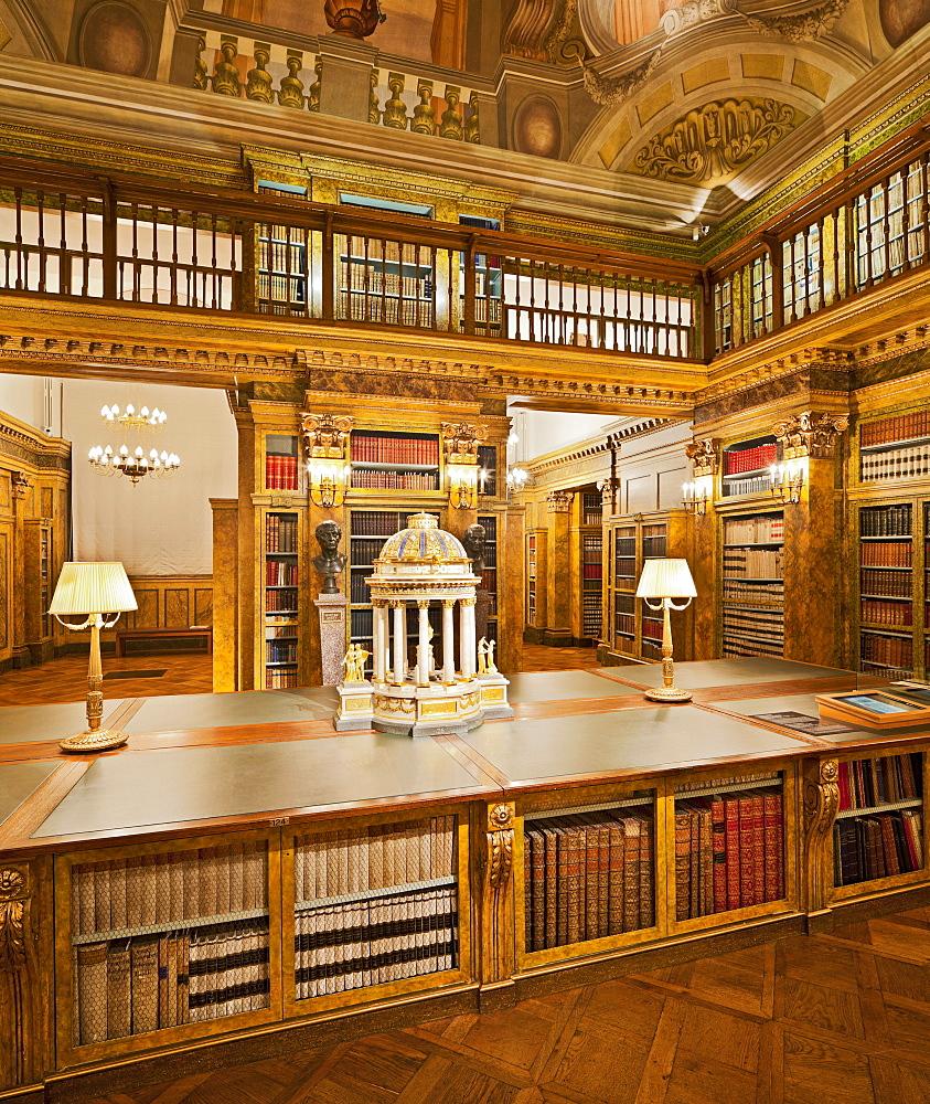 Deserted library at Palais Liechtenstein, 9. Bezirk, Alsergrund, Vienna, Austria, Europe