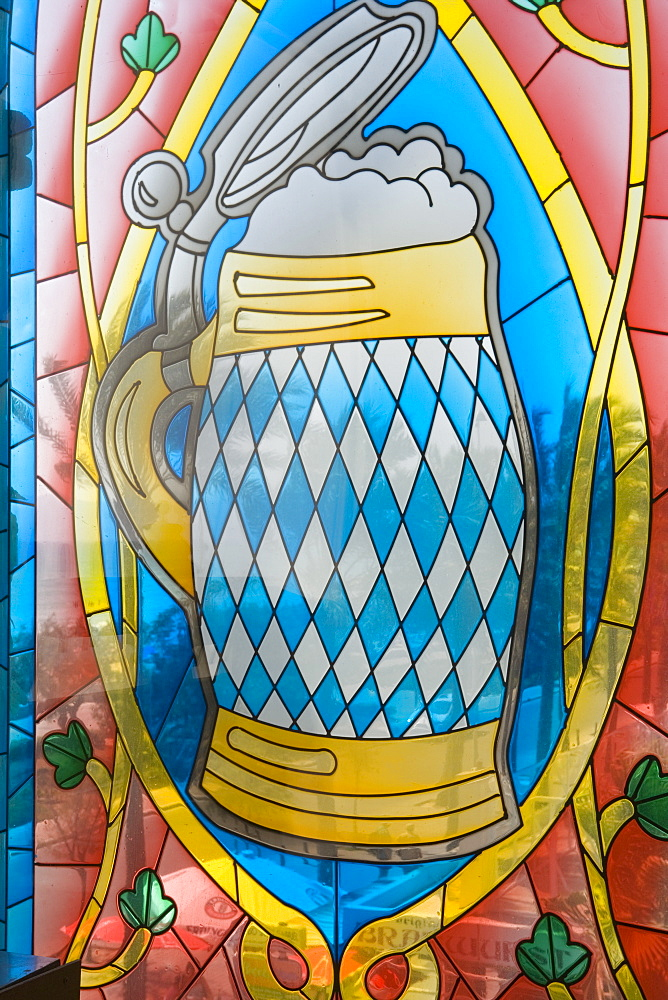 Beer Mug Stained Glass Window, Mega Park Disco and Club, El Arenal, Playa de Palma, Mallorca, Balearic Islands, Spain