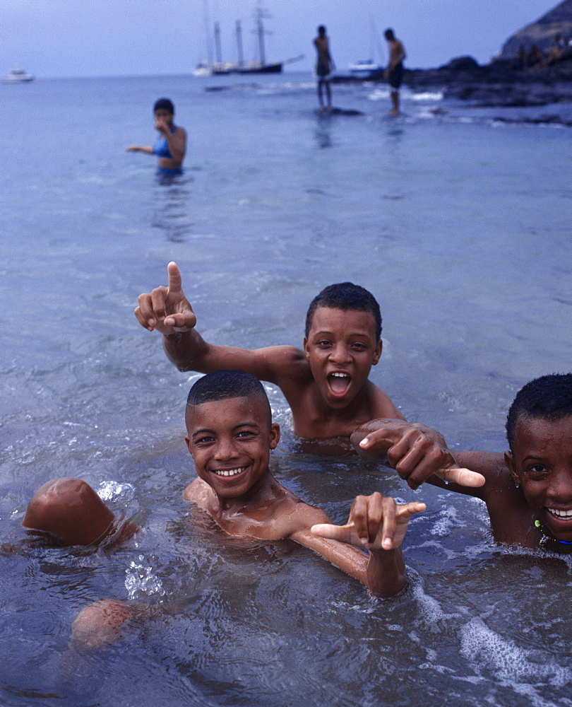 Local boys bathing in the sea, Vila Tarrafal, Santiago, Cape Verde Islands