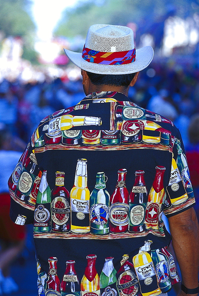 Man with Beer Shirt, San Antonio, Texas USA