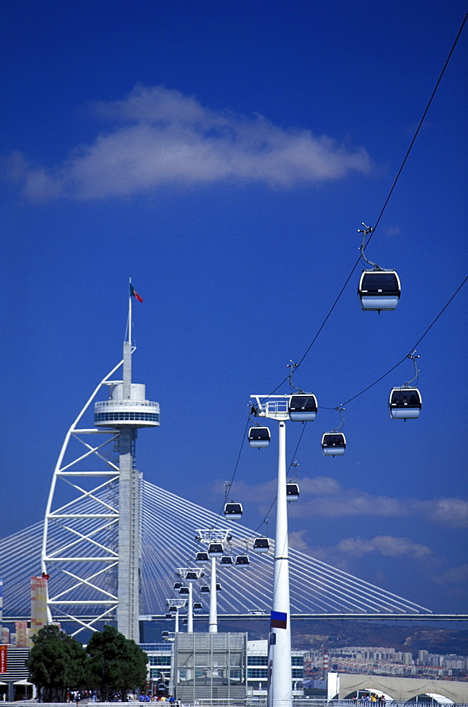 Cable car in front of Vasco da Gama tower, Parque das Nacoes, Lisbon, Portugal, Europe