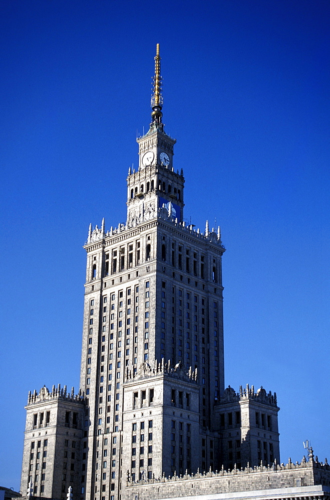 The Palace of Culture and Science under blue sky, Warsaw, Poland, Europe