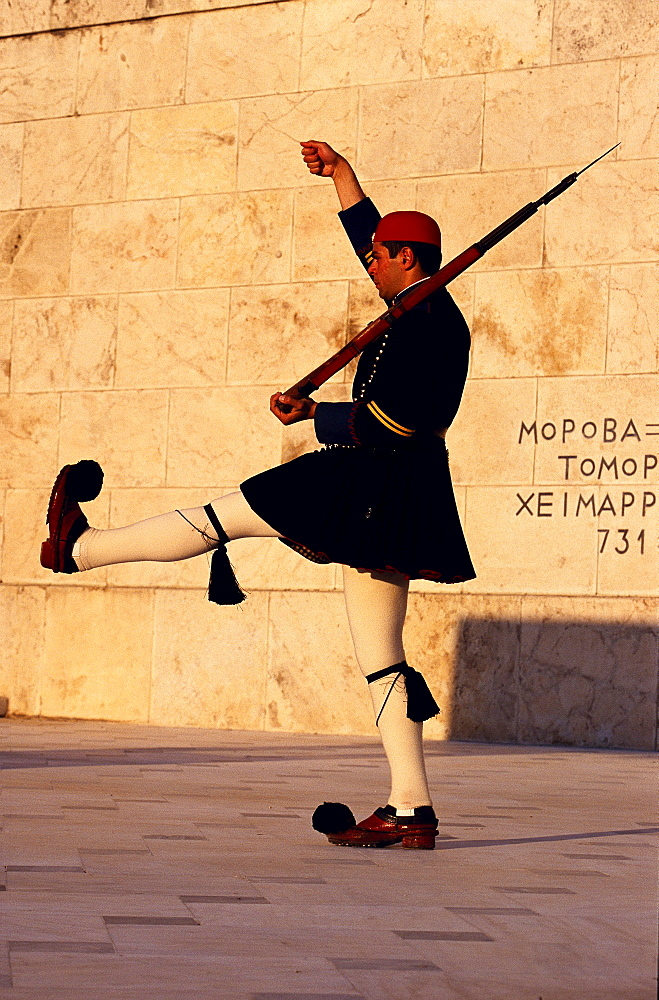 Changing of the Guards, Evzoni Soldier, Syntagma square, Athens, Greece