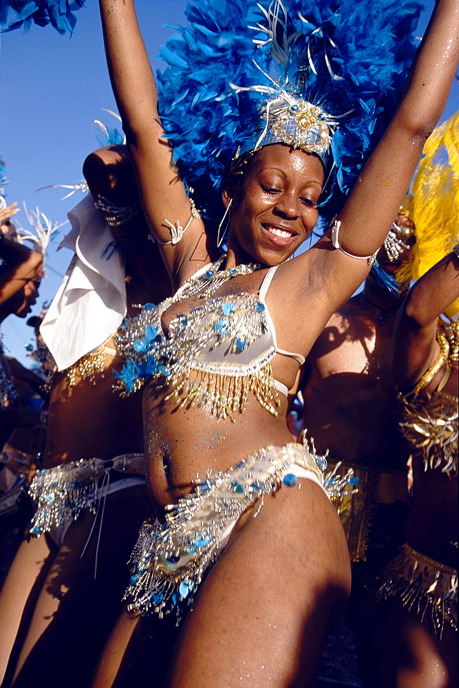 Woman in costume dancing at Mardi Gras, Carnival, Port of Spain, Trinidad and Tobago, Caribbean