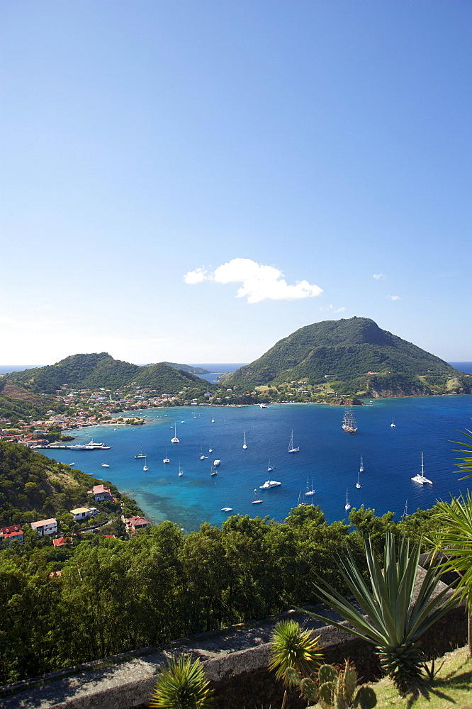 Aerial view of Terre-de-Haute harbour, Les Saintes Islands, Guadeloupe, Caribbean Sea, America