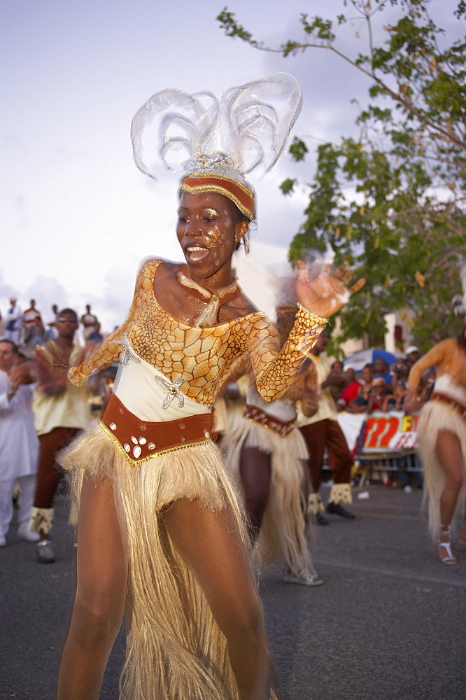 Female dancer at the Carnival, Le Moule, Grande-Terre, Guadeloupe, Caribbean Sea, America
