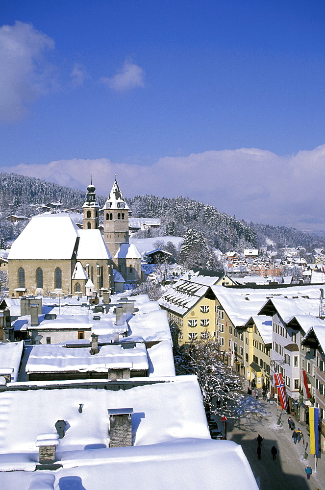 View of houses and church of the town of Kitzbuehel, Tyrol, Austria, Europe