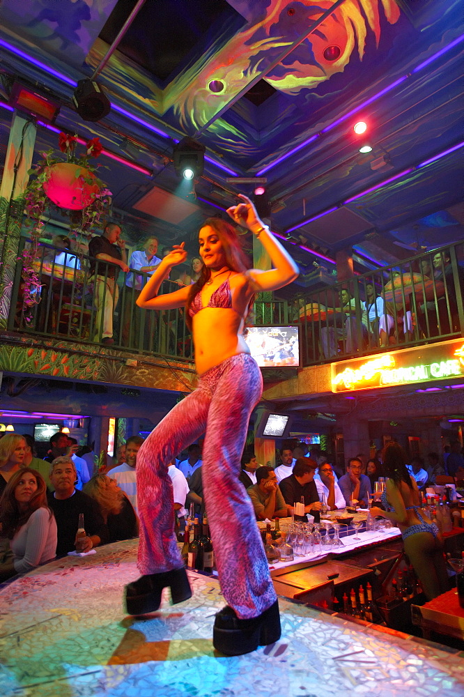 Dancer at Mango's Tropical Cafe, Ocean Drive, South Beach, Miami, Florida, USA, America