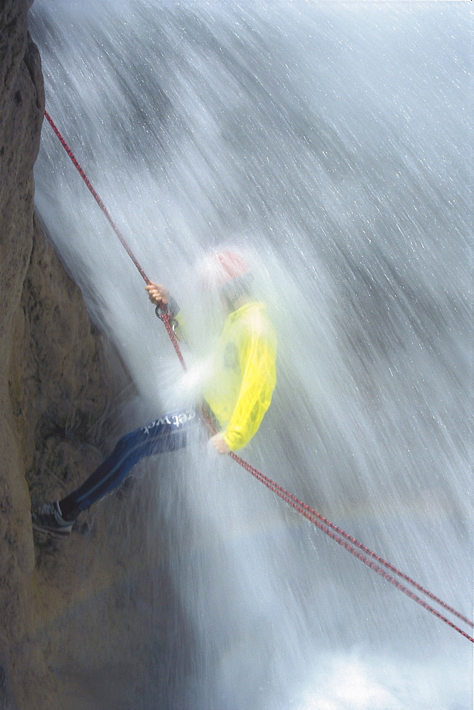 Canyoning, a man abseiling in a waterfall, Oetztal, Tyrol, Austria, Europe