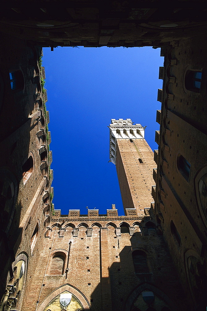 Low angle view of Torre del Mangia Tower, Siena, Tuscany, Italy