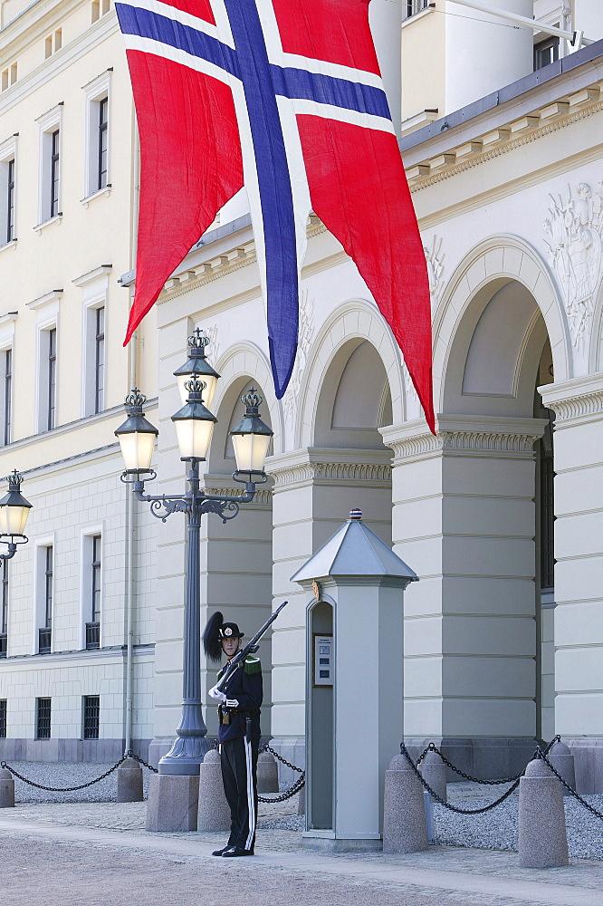 Guard, Royal Guardsman in front of the Royal Palace, Oslo, Noru, Norway