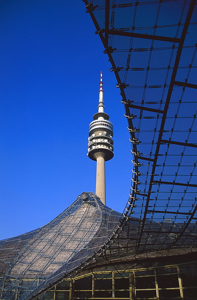 Olympia television tower and Olympia Park under blue sky, Munich, Bavaria, Germany, Europe