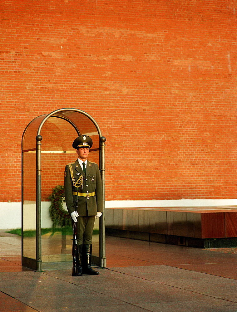 A guard standing at the grave of the unknown soldier, Moscow, Russia