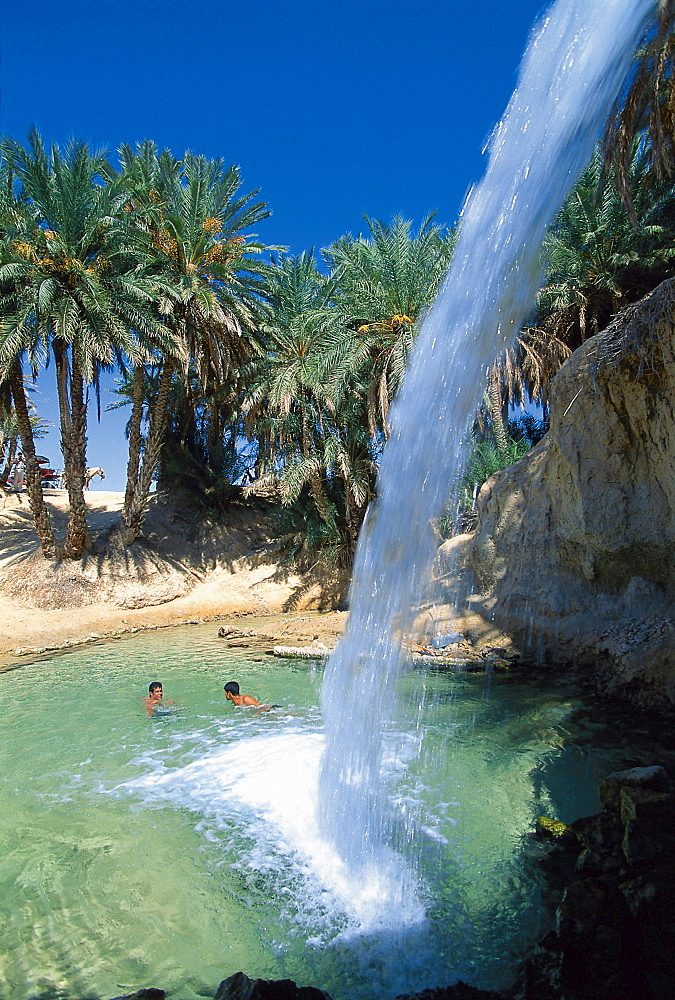 Spring with waterwall, Oasis, Tozeur, Tunis