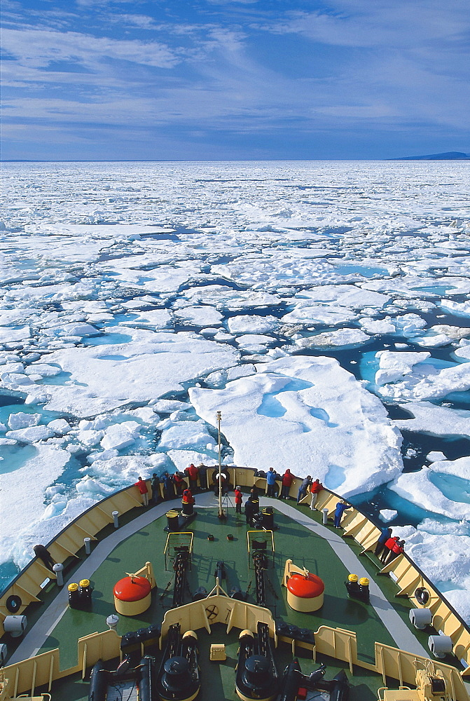 Ice breaker surrounded by ice, Nunavut, Canada, North America, America