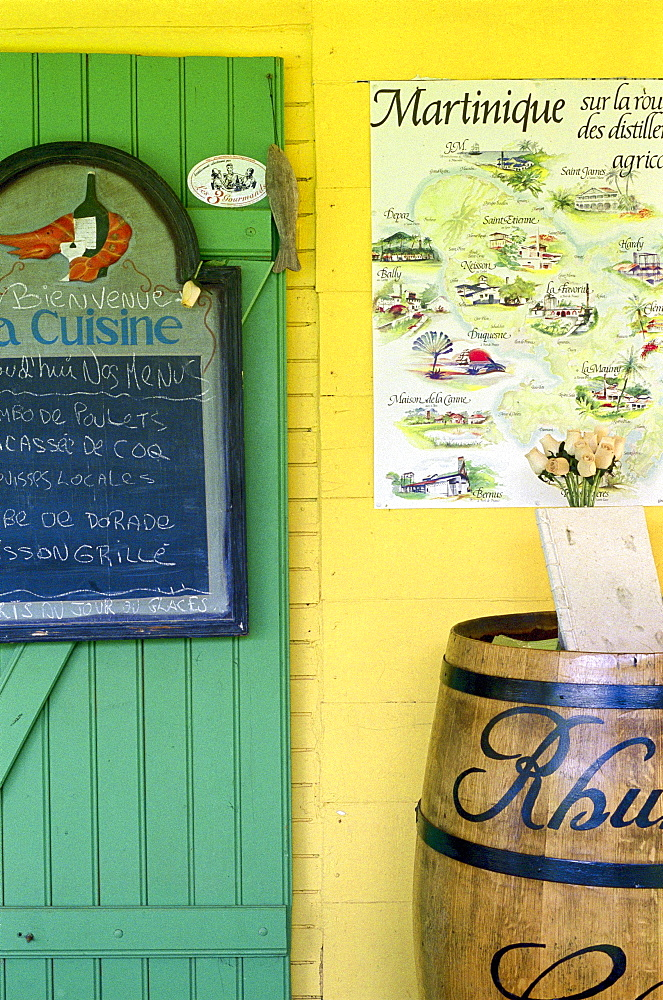 Blackboard and rum barrel in front of a restaurant, Point de Vue, Martinique, Caribbean, America