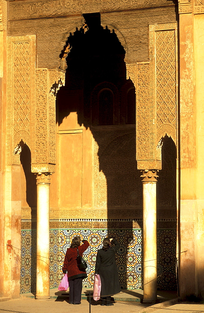 People at Saadien tomb in the sunlight, Marrakesh, Morocco, Africa