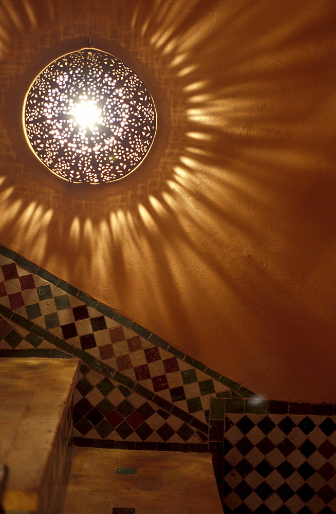 Detail of a staircase at a hotel, Riad Kaiss, Marrakesh, Morocco, Africa
