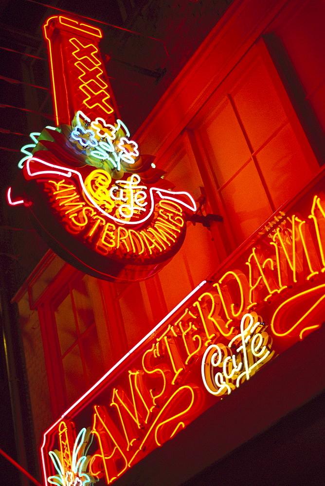 Neon sign in Leidseplein at night, Leidseplein, Amsterdam, Netherlands