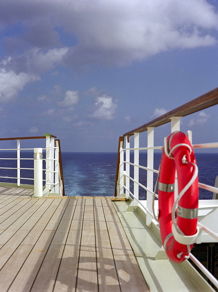 Observation deck with life ring and railing, Cruise Ship Queen May II, Luxury Ocean Liner, QM2, Cruise, Travel