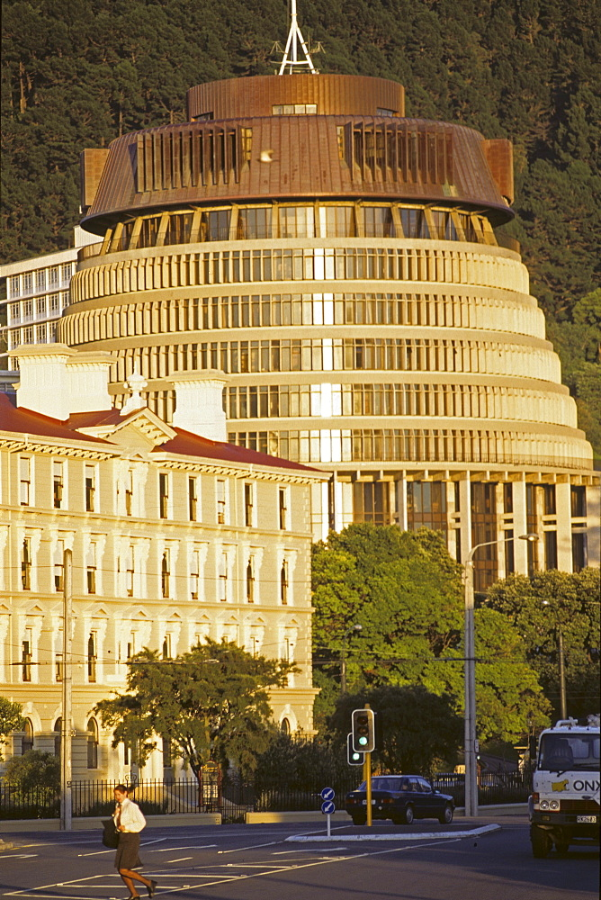 Government building, Beehive - common name for the Executive Wing of the New Zealand Parliament Buildings, architect Sir Basel Spence, capital, Wellington, North Island, New Zealand