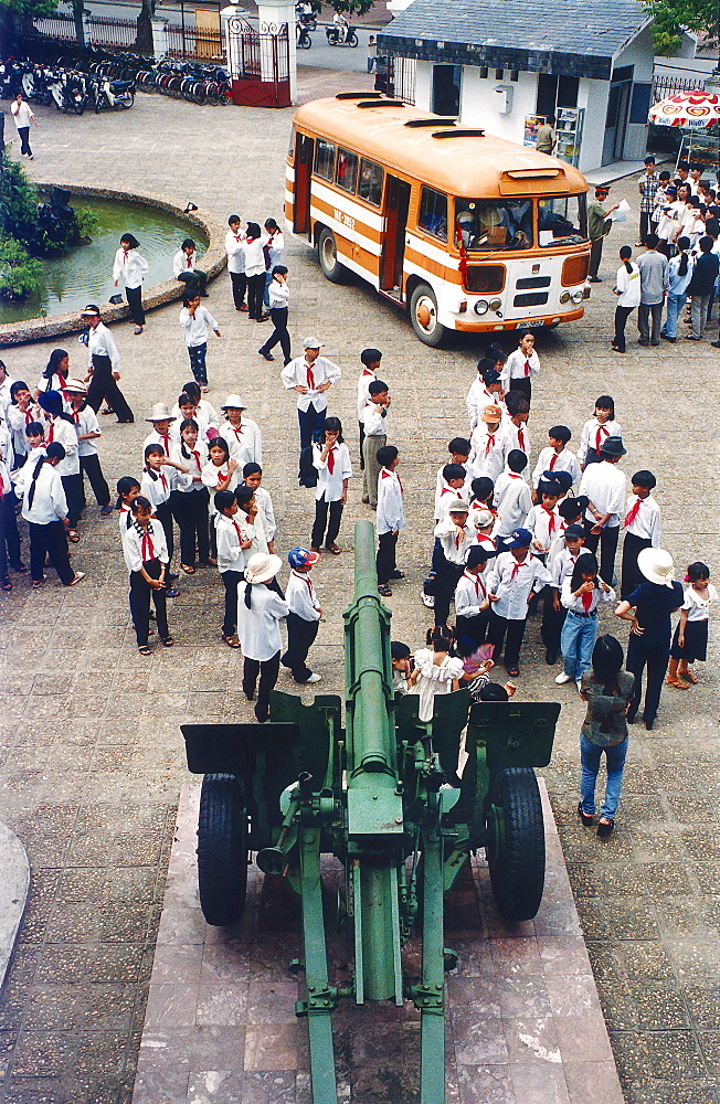 School class visiting the Army Museum, school uniform, Hanoi, Vietnam
