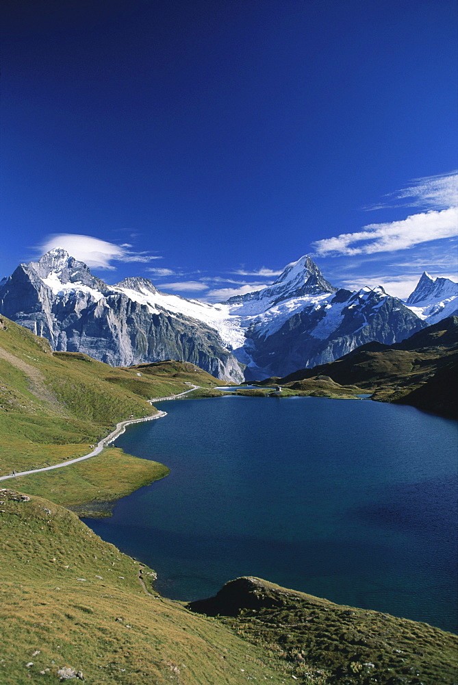 Alpine lake Bachalpsee with Wetterhorn and Schreckhorn, near Grindelwald, Bernese Oberland, Berne, Switzerland