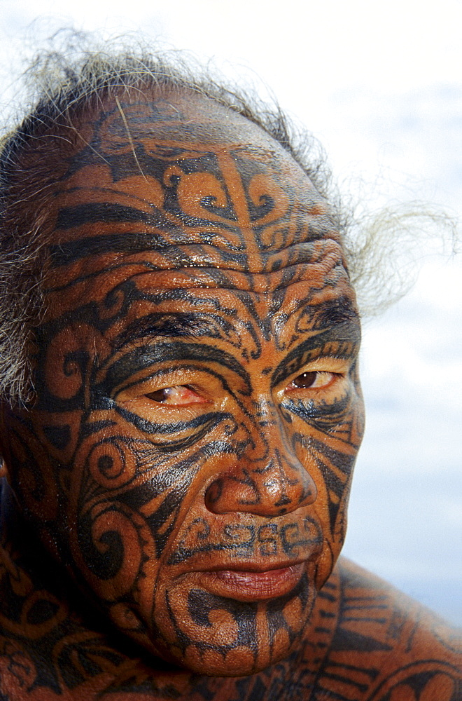 Man with face tattoos, Rangiroa, Tuamotu Islands, French Polynesia, South Pacific