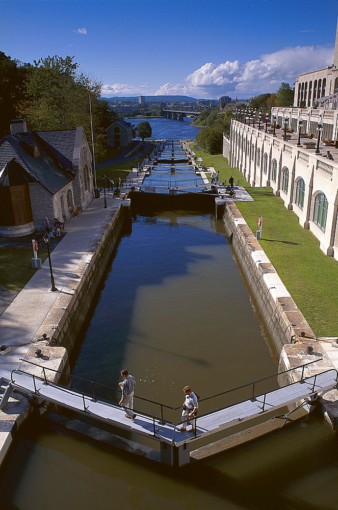 Locks at Rideau Canal, Ottawa, Quebec, Canada, North America, America