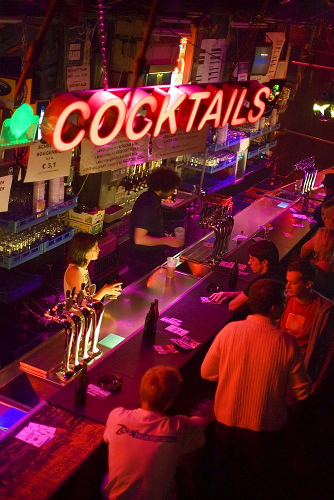 Bar at nightclub Flex, Vienna, Austria