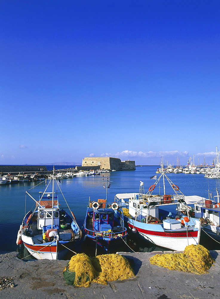 Fishing boats at the Venetian Harbour, Iraklion, Crete, Greece