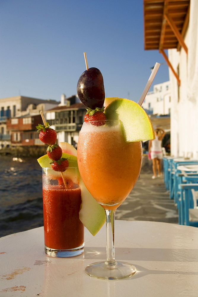 Different cocktails, for example Sundowner of the Caprice Bar, Little Venice, Mykonos-Town, Mykonos, Greece