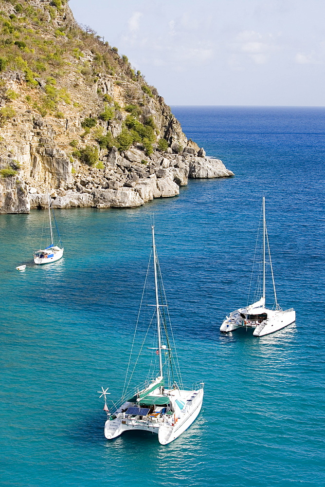 Yachts anchored off Shell Beach, Gustavia, St. Barths