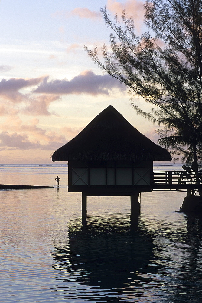 Overwater Bungalow at Dusk, InterContinental Beachcomber Resort, Moorea, French Polynesia