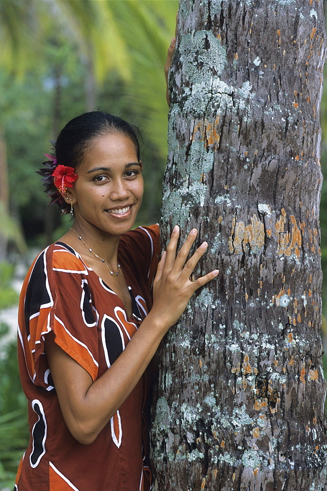 Pretty Polynesian Girl, Taha'a Pearl Beach Resort, Taha'a, French Polynesia