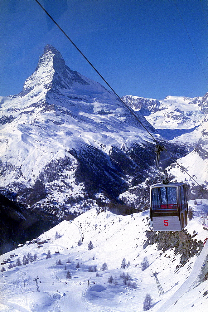 Overhead cable car in Zermatt, Vallais, Switzerland